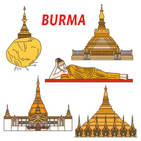 reclining: Ancient buddhist temples and places of worship of Burma thin line icon with Shwezigon Pagoda, statue of Reclining Buddha, Kyaiktiyo Pagoda or Golden Rock, Uppatasanti Pagoda and ancient city Bagan