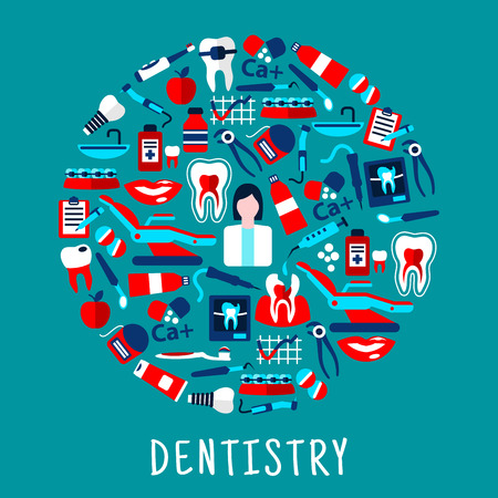 scans: Dentistry and dental care round symbol with flat icons of dentist with instruments and equipments, teeth, toothbrushes, toothpastes, pills, syringes, vitamins, floss, braces, implants and x-ray scans