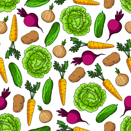 greengrocery: Green cabbage and cucumber, sweet carrot and beet, ripe onion and potato vegetables seamless pattern over white background. Agriculture and farm market themes design Illustration