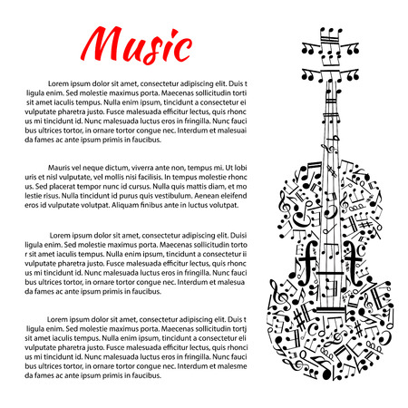 stave: Classic music poster with violin silhouette created of musical notes, treble and bass clefs with strings in a shape of stave, tuning pegs as rests and sound posts as forte symbols. Music theme design