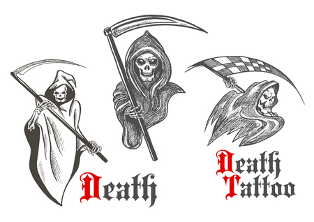 bony: Horrifying grim reapers vintage sketch characters of deathful skeletons wearing hooded coats with scythes in bony hands. Great for death symbol, motorsport mascot or tattoo design