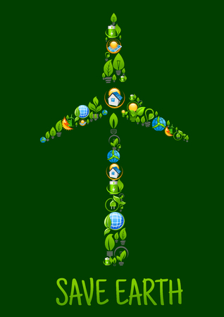 wind farm: Eco power and green energy icons in a shape of tower and blades of wind turbine with cartoon symbols of batteries, globes and light bulbs with green plants and leaves, eco frienly houses with solar panels and eco cities with wind farm