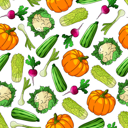 Seamless green onion, radish, zucchini, sweet pumpkin, cauliflower and chinese cabbage vegetables pattern. Agriculture harvest and organic farming themes design