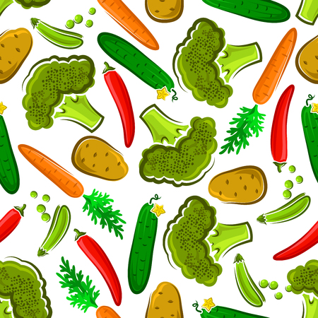 greengrocery: Seamless organic vegetables pattern on white background with broccoli, cucumber and green pea, carrot, hot red chili pepper and potato. Farm market design