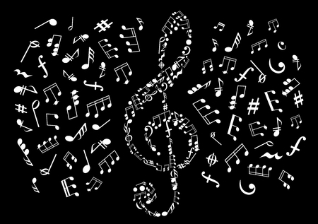 key signature: Musical notes black and white background with silhouette of treble clef made up of symbols and marks of musical notation with notes, chords, bass and treble clefs, rests, key signatures, coda and dynamics signs on both sides
