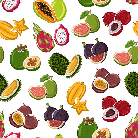 thai dessert: Exotic dessert fruits background with star fruits, papaya, lychee, passion fruits, violet figs, dragon fruits, guavas and durian fruits seamless pattern. Vegetarian dessert, tropical cocktail design
