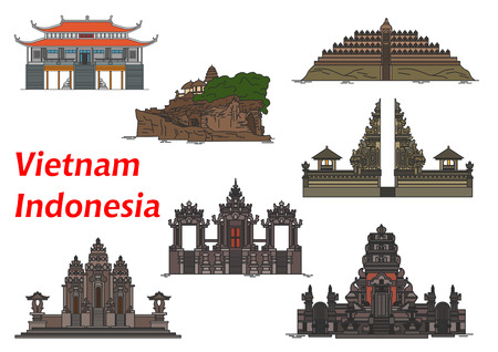 hindu temple: Ancient vietnamese buddhist Vinh Nghiem Pagoda symbol with indonesian buddhist Borobudur and Pulaki Temples, complex of temples Pura Besakih, Tanah Lot Temple, Pura Rambut Siwi and Petitenget Temple