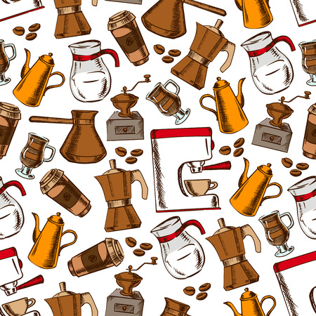 latte macchiato: Coffee house pattern with seamless sketchy coffee pot, cup and grinder, espresso machine, takeaway paper cup and milk pitcher on white background with roasted coffee beans Illustration