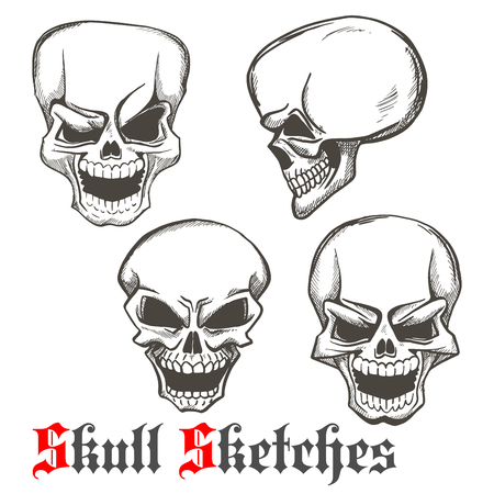 grins: Smiling and winking skulls sketches of human skeleton heads with evil laughing grins. Use as tattoo or Halloween mascot design Illustration