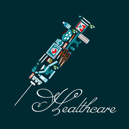 simbolo medicina: El tratamiento con medicamentos y el símbolo de la salud de la jeringa con frascos de medicinas, píldoras, silla del dentista y herramientas, aparatos dentales, rayos x, mesa de operaciones, ultrasonido del bebé, pipetas y los iconos muletas Vectores