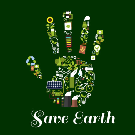 Eco hand icon made up of green energy symbols with flat recycling signs, saving energy light bulbs with leaves, water drops, electric cars, solar panels, wind turbines, bicycles, green plants, trees and flowers. Ecological concept design