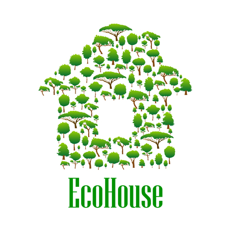plants and trees: Eco house conceptual icon for ecology and environmental protection design with green trees and plants symbols arranged into silhouette of the house Illustration