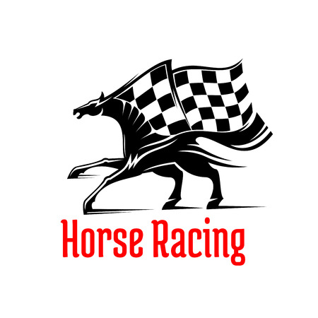 racehorse: Galloping racehorse black and white silhouette for equestrian sporting competition design supplemented by racing checkered flag above and caption Horse Racing