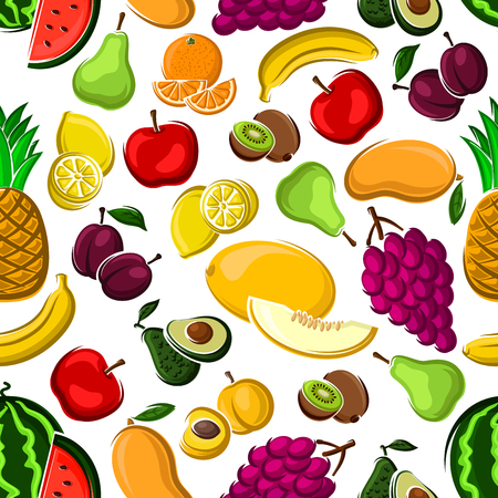 apples and oranges: Sweet fruits pattern on white background with seamless apples, mangoes, oranges, peaches, plums, bananas, grapes, lemons, pineapples, watermelons kiwis pears avocados and melons fruits Illustration