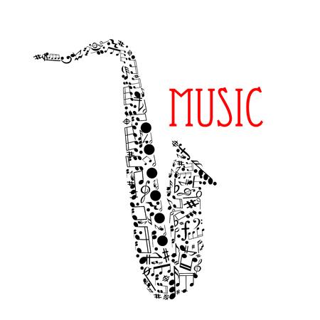 음표 및 다른 기간, 고음 및 저음 겹쳐, 줄기, 키 서명, 포르테 및 코다 기호의 색소폰의 실루엣을 형성하는 뮤지컬 노트. 음악제, 재즈 콘서트 디자인