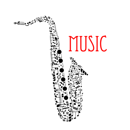duration: Musical notes forming silhouette of a saxophone with notes and chords of different duration, treble and bass clefs, rests, key signatures, forte and coda symbols. Music festival, jazz concert design