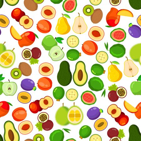 avocados: Fresh fruits seamless pattern with background of whole and halved apples, peaches, mangoes, plums, passion fruits, guavas, pears, kiwis, avocados, feijoas and durian fruits. Flat style Illustration