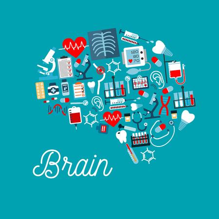 Iconos médicos en una forma de cerebro humano con las píldoras, jeringas, termómetros, estetoscopios, corazones, bolsas de sangre, dientes, herramientas de odontología, microscopios, ADN, radiografía de tórax, ECG y formas chequeo médico Ilustración de vector