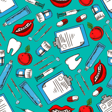 smiles teeth: Seamless dentistry and dental care pattern of sketched teeth, pills, syringes, dental mirrors and probes, toothpastes, medical examination forms, smiles with braces and fresh apples on teal background