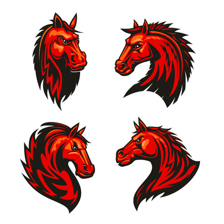 equine: Fire horses symbols of aggressive and powerful stallions with fiery red tribal pattern of flaming manes. Horse racing mascot or tattoo design Illustration