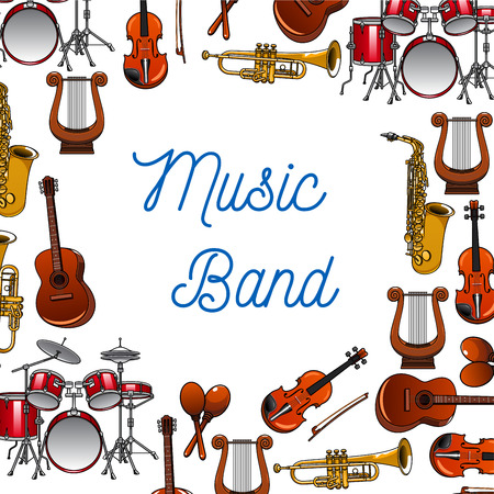 violins: Musical instruments background of guitars, violins, drums, trumpets, saxophones, maracas and lyres with caption Music Band in the center. Use as music, entertainment and orchestra design