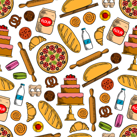macaron: Bread, pepperoni pizza, cake, cupcake, croissant, cinnamon bun, macaron, pretzel, flour, milk, eggs and rolling pin seamless pattern background Bakery and pastry shop baking concept design Illustration