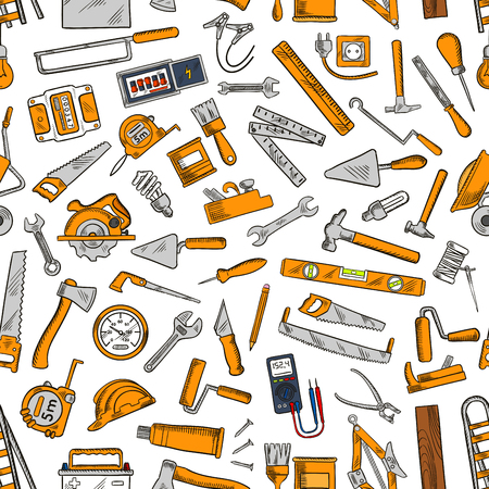 rasp: Building tool and equipment seamless pattern of hammer, trowel, spanner, saw, paintbrush, axe, wheelbarrow, jack plane, rasp, hard hat, light bulb, tape measure awl ladder battery ruler socket
