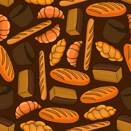 white bread: Fresh bread seamless pattern with loaves of dark rye and white bread, french croissant and baguette, braided bun with poppy seed on brown background. Bakery and pastry shop design