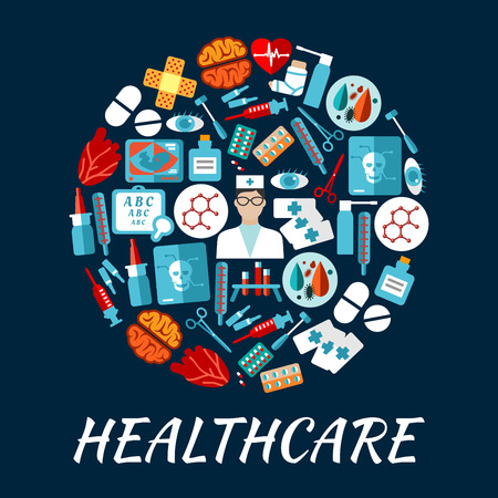 test tube baby: Round icon with flat doctor, pill, thermometer, syringe, heart, brain, blood test tube, eye, medical tool, skull x-ray, bandage, medicine bottle, baby ultrasound sight test symbols Healthcare design