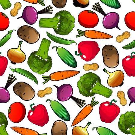 greengrocery: Vegetables pattern with seamless background of tomato, bell pepper, onion, broccoli, carrot, peanut, cucumber, potato, green pea, beet vegetables. Organic farming agriculture vegetarian food design