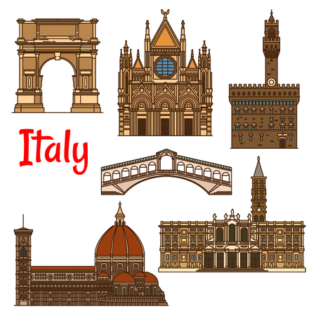 siena italy: Italian historical travel sights icon with linear Florence Cathedral, Church of Santa Maria Maggiore, Siena Cathedral, Rialto Bridge, ancient Arch of Titus and Palazzo Vecchio