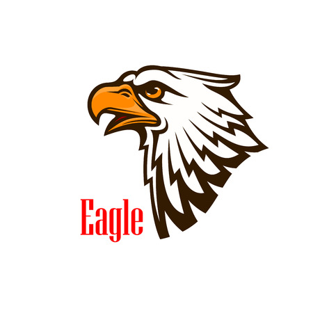 Eagle hoofd vector embleem. Havik schets cartoon overzicht. Falcon silhouet teken voor team mascotte schild, pictogram, kenteken, label en tattoo. Scout, patriottische en guard-concept symbool