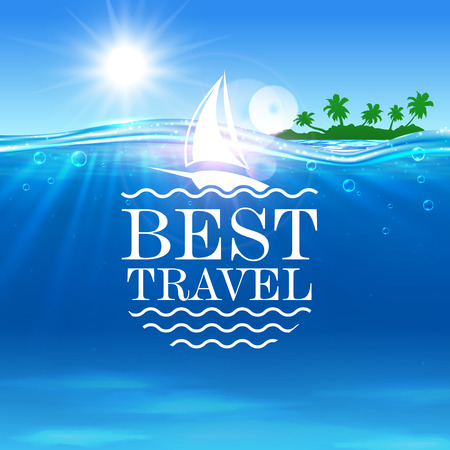 seaside resort: Summer travel vector poster. Ocean, tropical palm island, ship. Seaside beach with shining sun, white yacht, water waves. Placard for travel advertisment, agency, flyer, greeting card, hotel resort