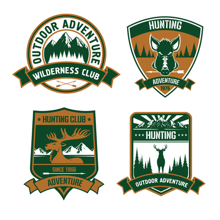 wildlife shooting: Hunting club emblems set. Wild animal deer, elk, boar, antlers, head, arrow silhouette vector icons. Hunt adventure icon with mountains, forest, wildlife for badge, t-shirt, outfit Illustration