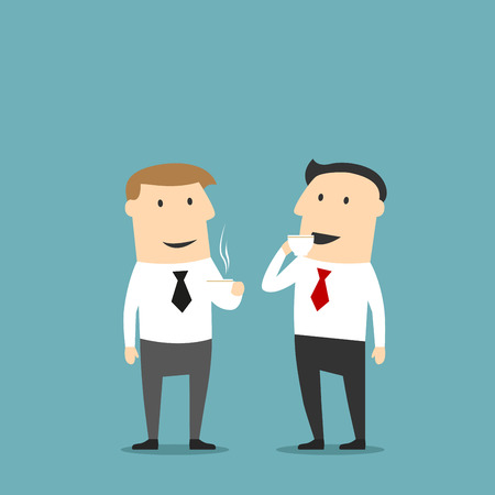 Businessman drinking and chatting. Office colleagues at coffee break talking. Isolated men vector characters. People in business communication