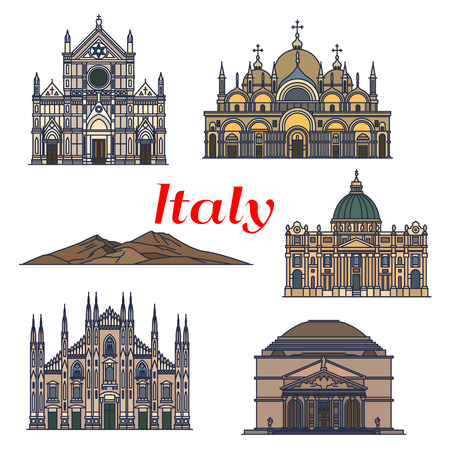 basilica: Historic sightseeings and buildings of Italy. Vector detailed icons of Pantheon, Saint Peter Basilica, Saint Mark Basilica, Cathedral of Milan, Mount Vesuvius, Basilica of Santa Croce Illustration