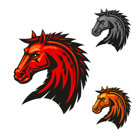 bronco: Horse stallion head icons. Stallion with red mane vector emblems. Bronco, mustang heraldic symbol for sport club, team shield, icon, badge, label, tattoo