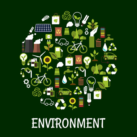 environment protection: Environmental ecology friendly poster. Green eco recycling icon. Environment protection signs and symbols