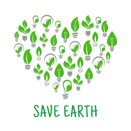 lamp: Save Earth poster. Energy saving green leaf and lamp bulb symbols. Vector eco energy icon in heart shape. Environmental nature protection and smart electricity concept Illustration