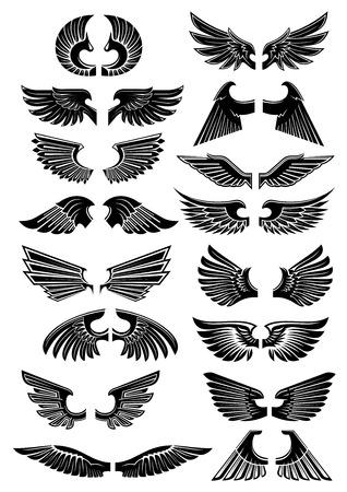 Ali icone araldici. Uccelli e ali d'angelo silhouette per il tatuaggio, l'araldica o un disegno tribale. Vettore gotico elemento armatura Vettoriali