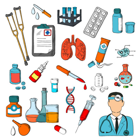 medications: Medical icons set. Medicine tools and treatment symbols. Lungs, syringe, pills, doctor, dropper, ointment dna medications equipment