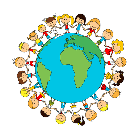 Children world friendship cartoon poster. Happy smiling kids around globe. Child unity and care concept vector symbol. Kindergarten boys and girls