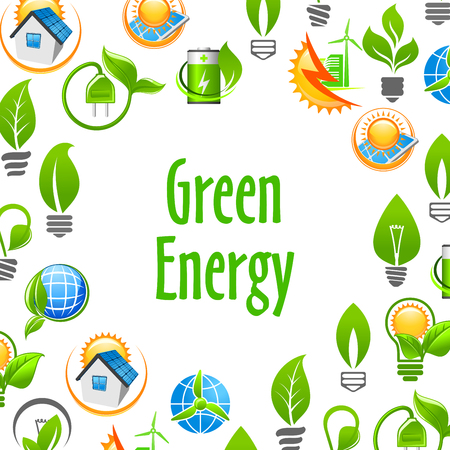 energy sources: Green Energy eco environment poster. Natural energy sources elements. Vector icons leaf, sun, water, wind, solar panel, plug, house. Nature protection and smart power concept