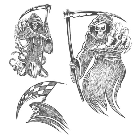 mortal: Death with scythe pencil sketch. Halloween vector icon. Gothic mortal character sketching for tattoo, decoration
