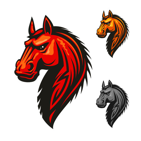 Horse stallion head vector icon. Red, yellow, gray isolated horses with mane. Vector emblem for chess, sport club team shield, badge, label, tattoo.
