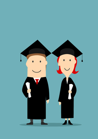college girl: Graduates holding diploma certificates. Smiling bachelors boy and girl in graduation black mantle and cap. University and college students education concept