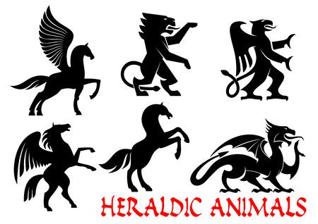 Heraldische dieren pictogrammen. Pegasus, Eenhoorn, Lion, Eagle, Paard, Dragon silhouetoverzicht voor tattoo, wapenkunde, tribale schild embleem Fantasy gotische schepselen