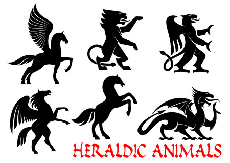 Heraldic animals icons. Pegasus, Unicorn, Lion, Eagle, Horse, Dragon silhouette outline for tattoo, heraldry, tribal shield emblem Fantasy gothic creatures Illustration
