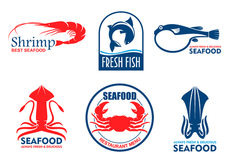 merchandising: Seafood icons. Vector fish food products labels. Shrimp, squid, crab elements for signboard, menu, restaurant, shop, cafe, market merchandising Asian nordic and mediterranean cuisine
