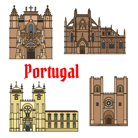 monastery: Historic sightseeings and buildings of Portugal. Vector art drawings of Monastery of Batalha, Porto Cathedral, Patriarchal Cathedral, Mary Major, Santa Cruz Monastery. Portuguese showplaces symbols for souvenirs, postcards, magnets Illustration